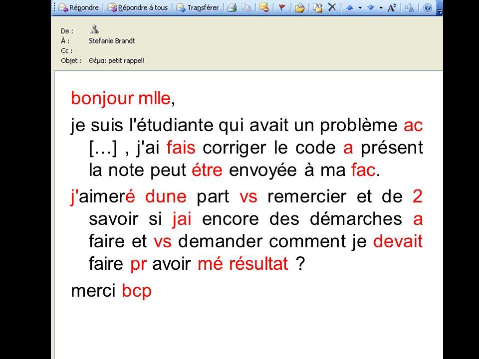 bonjour mlle, je suis l étudiante qui avait un problème ac […] , j ai fais corriger le code a présent la note peut étre envoyée à ma fac.